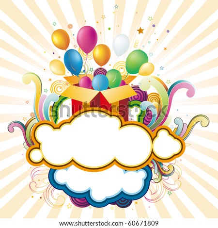 vector illustration of gift box and balloons - stock vector