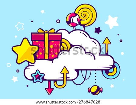 Vector illustration of gift box and confection with cloud on blue background with star and dot. Hand draw line art design for web, site, advertising, banner, poster, board and print.