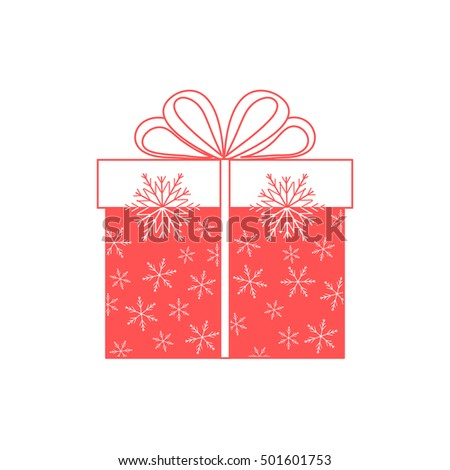 Vector illustration of gift box decorated snowflakes on white background.Design element for postcard, invitation, banner, flyer.