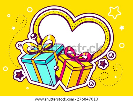 Vector illustration of gift boxes with heart on yellow background with star and dot. Hand draw line art design for web, site, advertising, banner, poster, board and print.