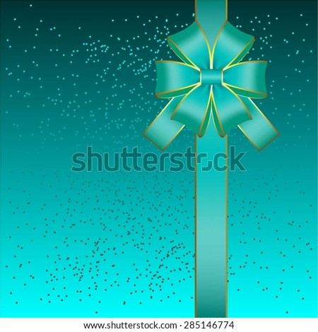 Vector illustration of Gift card. Bow and ribbon on a aqua background. - stock vector