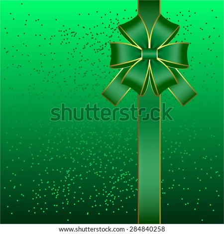 Vector illustration of Gift card. Bow and ribbon on a green background with glitter. - stock vector