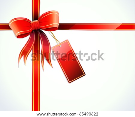 Vector illustration of gift wrapped white paper with a red ribbon, bow and blank tag - stock vector