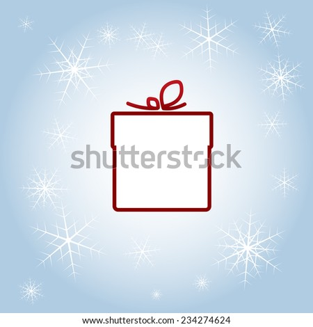 Vector illustration of gift wrapped with ribbon on winter background