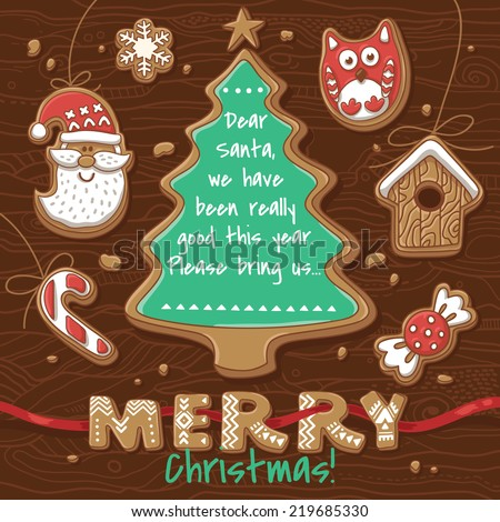 Vector Illustration of Gingerbread Cookies. Christmas greeting card