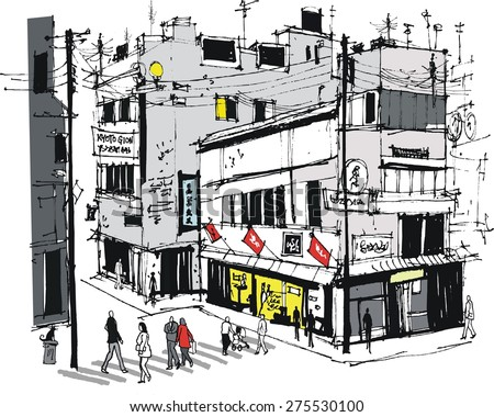 Vector illustration of Gion district Kyoto, Japan with buildings and pedestrians.  - stock vector