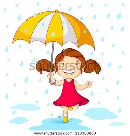 vector illustration of girl playing in rain with umbrella - stock vector