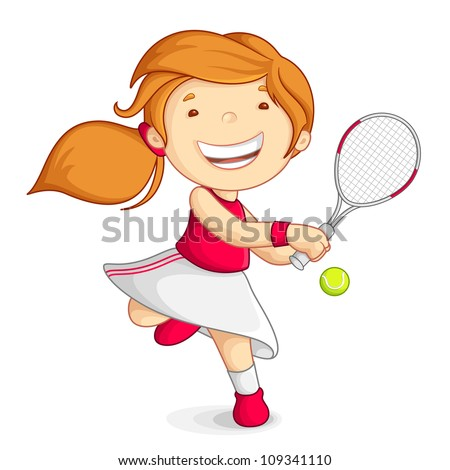 vector illustration of girl playing tennis with raquet - stock vector