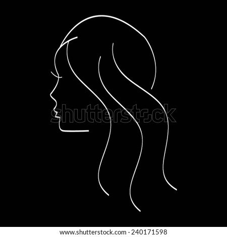 Vector illustration of Girl. Silhouette on a black background. - stock vector