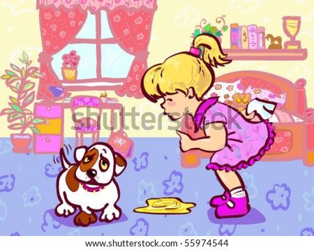 Vector illustration of girl training her puppy which made pee in room. - stock vector