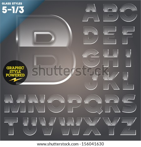 Vector illustration of Glass font powered graphic styles. Set  5-1