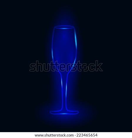 Vector illustration of glass of champagne - stock vector