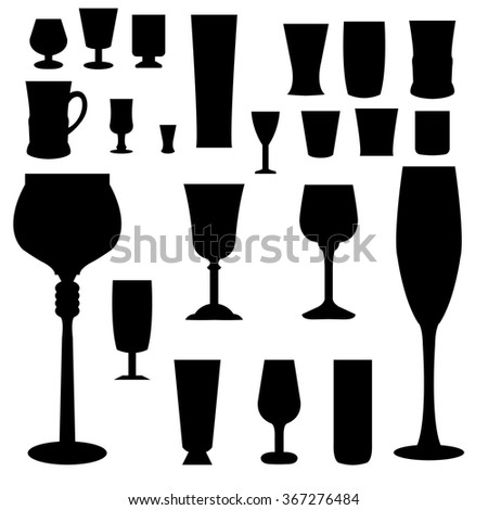 Vector illustration of glass set isolated on white background. - stock vector