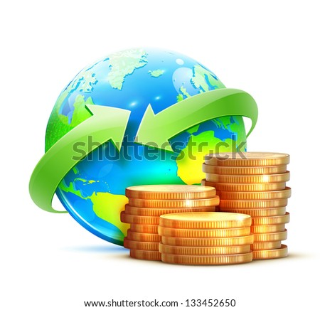 Vector illustration of global money transfer concept with blue glossy earth globe and golden coins isolated on a white background.