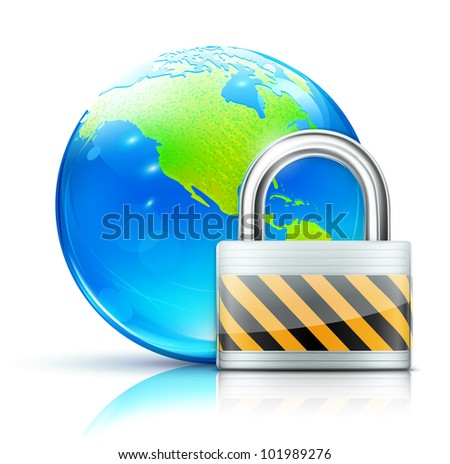 Vector illustration of global security concept with locked pad lock and cool glossy globe showing the Americas