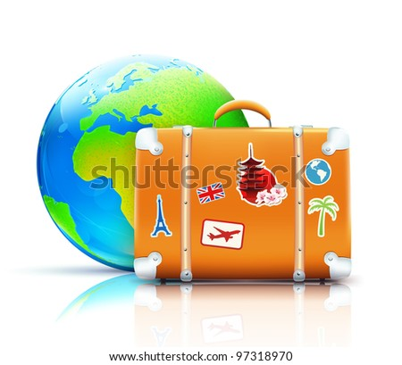 Vector illustration of global travel concept with funky retro suitcase and cool glossy globe - stock vector