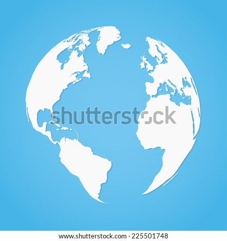 Vector illustration of globe earth silhouette on blue background - stock vector