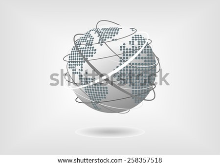 Vector illustration of globe with dotted world map of North America, South America, Europe and Africa in flat design with grey, blue and white color scheme - stock vector