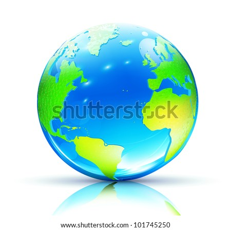 Vector illustration of Glossy Earth Map Globe - stock vector