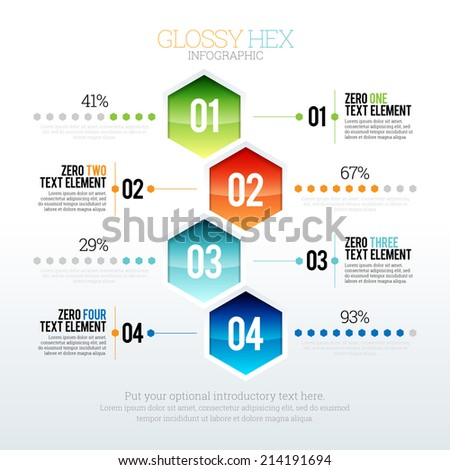 Vector illustration of glossy hex infographic. - stock vector