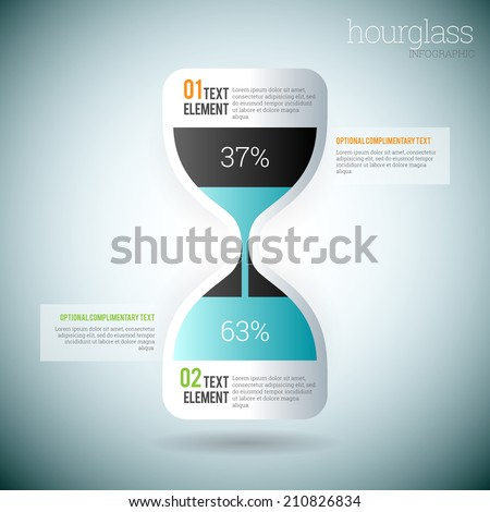 Vector illustration of glossy hourglass infographic elements. - stock vector