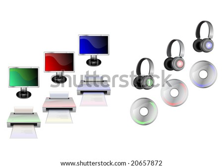 Vector illustration of glossy technological gadgets icons:  Display, head - phones, printer and disc - stock vector