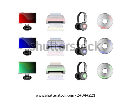 Vector illustration of glossy technological gadgets icons: LCD Display, head - phones, printer and disc - stock vector