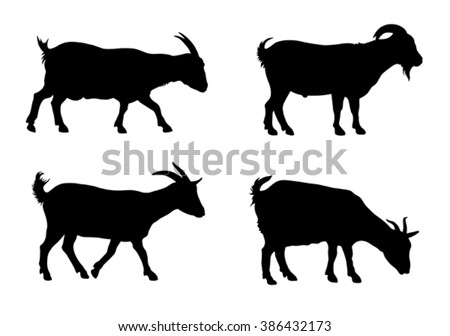 Vector illustration of goats silhouettes over white background