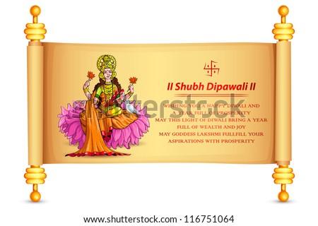 vector illustration of goddess lakshmi on scroll - stock vector