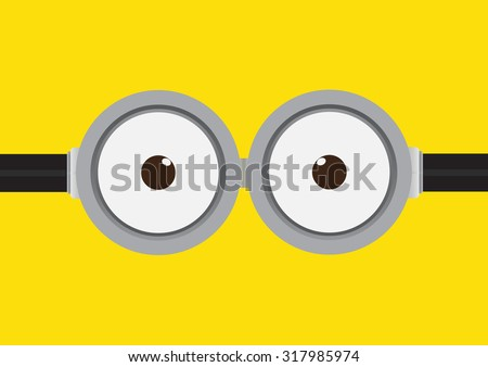 Vector illustration of goggle with two eye on yellow color background - stock vector