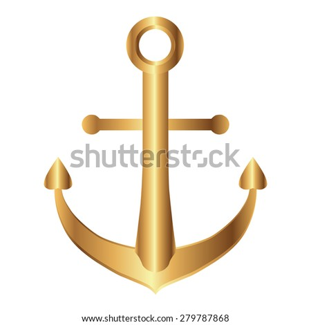 Vector illustration of Gold Anchor  - stock vector