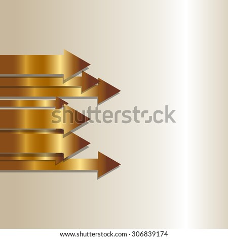 Vector illustration of gold Arrows  - stock vector