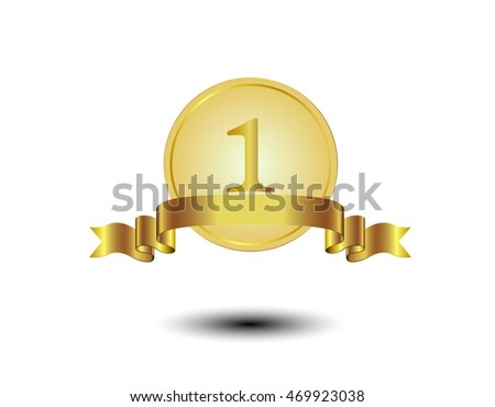 Vector illustration of gold award number 1 with shiny ribbon