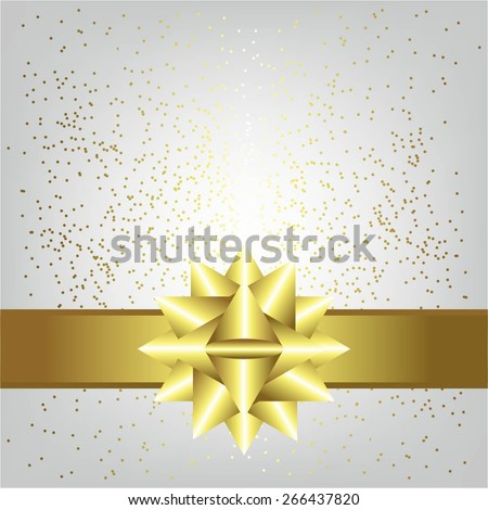 Vector illustration of Gold bow and ribbon on a gray background with sparkles. - stock vector