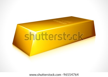 vector illustration of gold brick against white background - stock vector