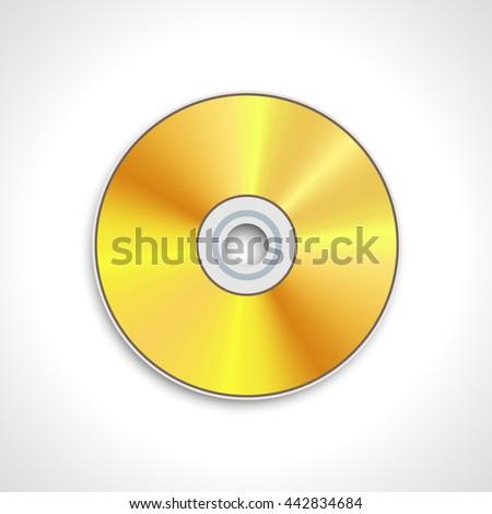 vector illustration of gold CD disk or DVD disk - stock vector