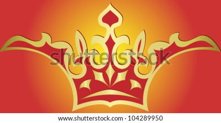 Vector illustration  of gold crown, isolated on red background - stock vector