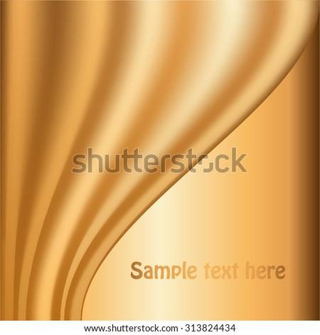 Vector illustration of Gold curtain on a gold background. - stock vector