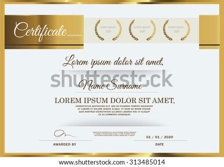 Vector illustration of gold detailed certificate - stock vector