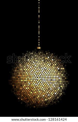 Vector illustration of gold disco ball lights - stock vector