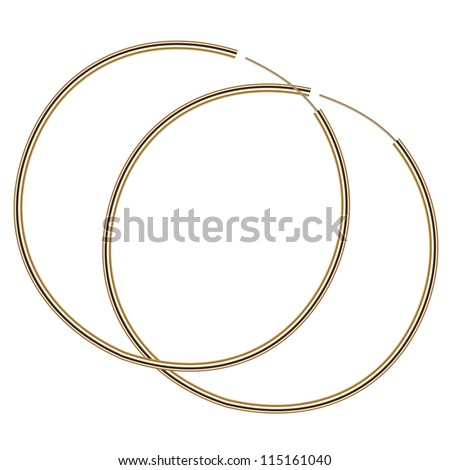 Vector illustration of gold earrings