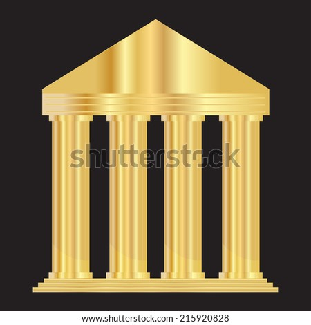 Vector illustration of gold  entrance to the building - stock vector