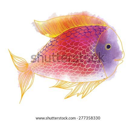 Vector illustration of gold fish. Watercolor splatters - stock vector