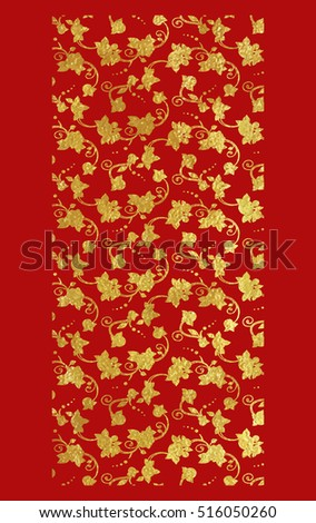 Vector illustration of gold foil ornamental background with roses in Victorian style on red.