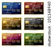 Vector illustration of gold framed credit cards in 6 different colors. Transparent shadows placed on layer beneath. - stock photo
