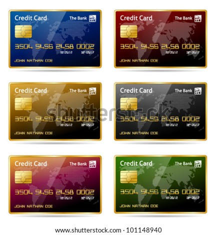 Vector illustration of gold framed credit cards in 6 different colors. Transparent shadows placed on layer beneath. - stock vector