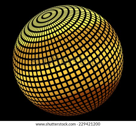 Vector illustration of gold globe icon - stock vector