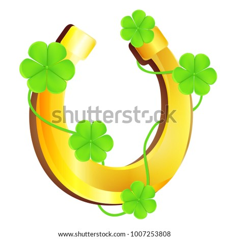 Vector illustration of gold horseshoe covered with Dutch clover. Symbol of St. Patrick's Day. Wishes of good luck.
