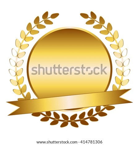 Vector Illustration Gold Laurel Wreath Ribbon Stock Vector ...