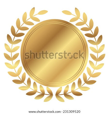 Vector illustration of gold medal and laurels  - stock vector
